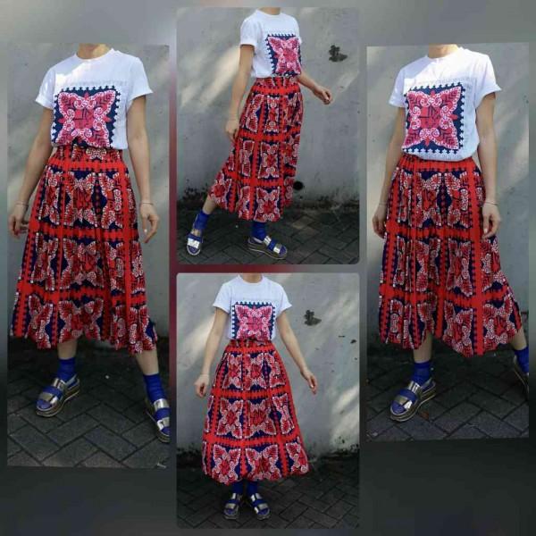 民族花大紅半身長裙