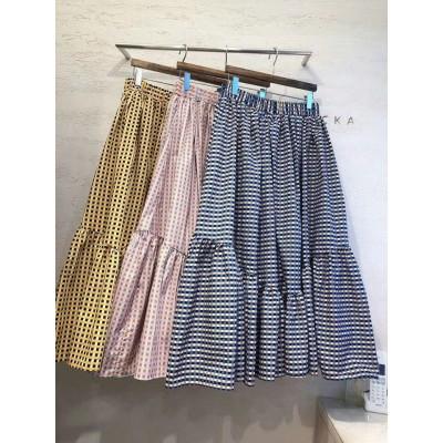 Flicka藍啡白格半身裙 兩色