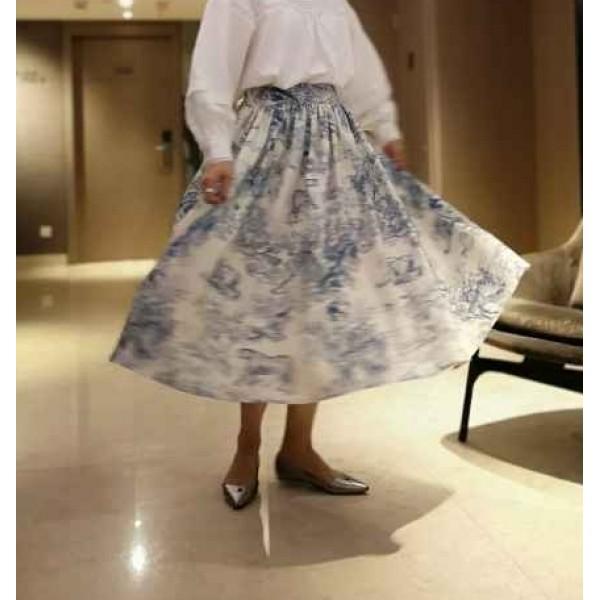 Flicka藍白陶瓷花半身裙