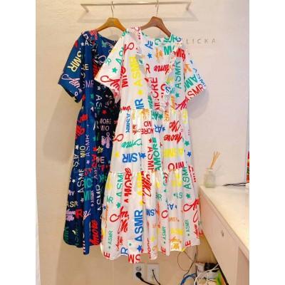 Flicka英文藝術字圖案連身裙
