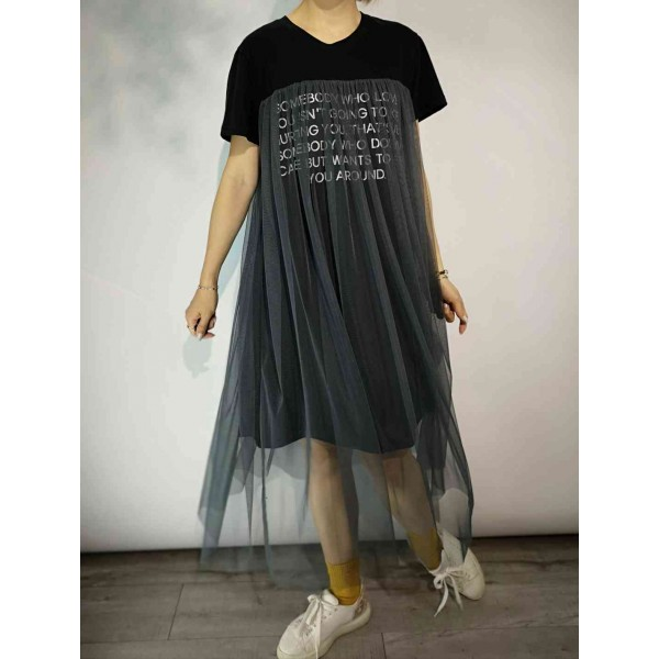 Lace Long Tee Dress Black