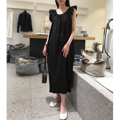 River 大熱之款優雅大方荷葉背心連身裙黑白兩色